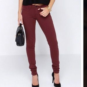 Flying Monkey Jeans - Flying monkey skinny jean in deep wine berry